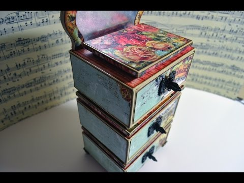 drawer box schubladenbox vintage diy paper art basteln mit papier deutsch youtube. Black Bedroom Furniture Sets. Home Design Ideas