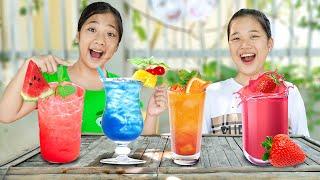 Hai Chị Em Mở Quán Nước Soda ❤ Làm Nước Ép Dâu Tây - Trang Vlog