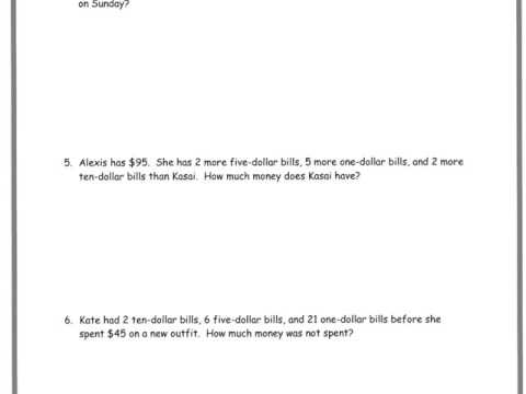 Word Problems with Dollar Bills (solutions, examples ... on
