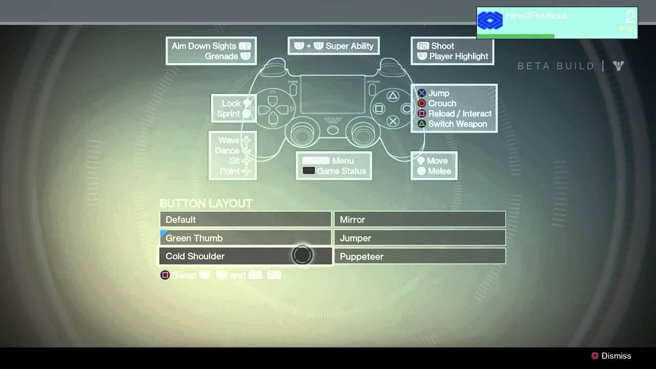 Destiny Beta PS4 Controls