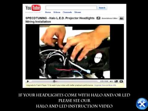 hqdefault specdtuning halo led projector headlights wiring installation led  at bakdesigns.co