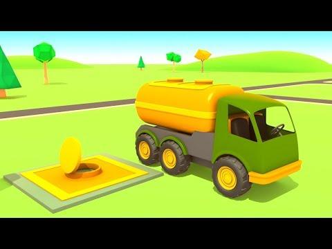 Vehículos de servicio en la gasolinera. Dibujos animados en español.