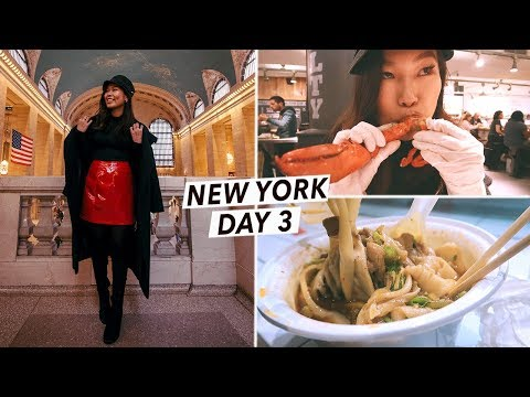 NYC Food Tour: Lobster & Hand-Pulled Noodles at Chelsea Market 😱| New York City Travel Vlog Day 3