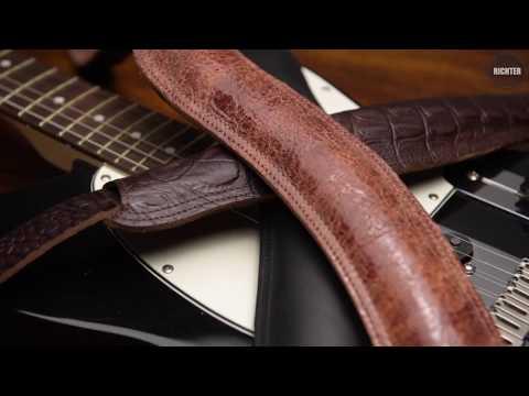 Sehr edler Ledergurt schwarz für Gitarre und Bass aus Echtleder 125-155 cm Länge