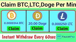 Claim BTC, LTC Every minute, new biggest Bitcoin Earning sites, New bitcoin Earning site, claim doge