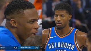 Russell Westbrook Watches Paul George Destroy The Timberwolves! Thunder vs Timberwolves