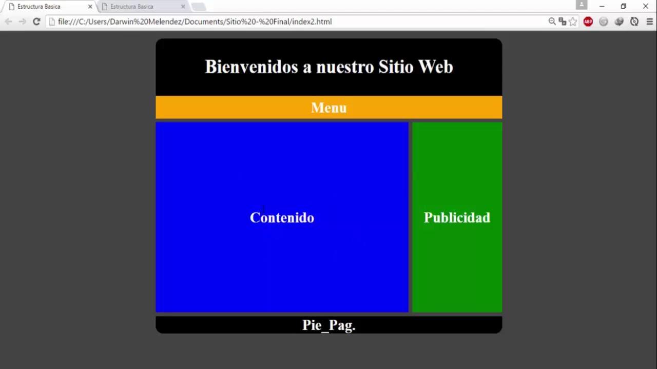Estructura Pagina Web Html5 Y Css Youtube