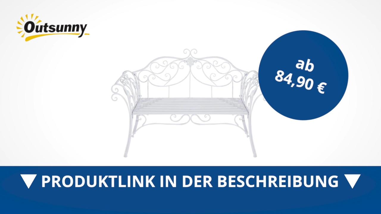 Outsunny Gartenbank 2 Sitzer Bank Sitzbank Parkbank Metall Gartenmöbel  Antik Weiß   Direkt Kaufen!