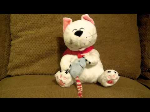 Christmas Holiday Singing Cat Plush Toy Video Meows Jingle Bells ~ Gemmy Industries Toys