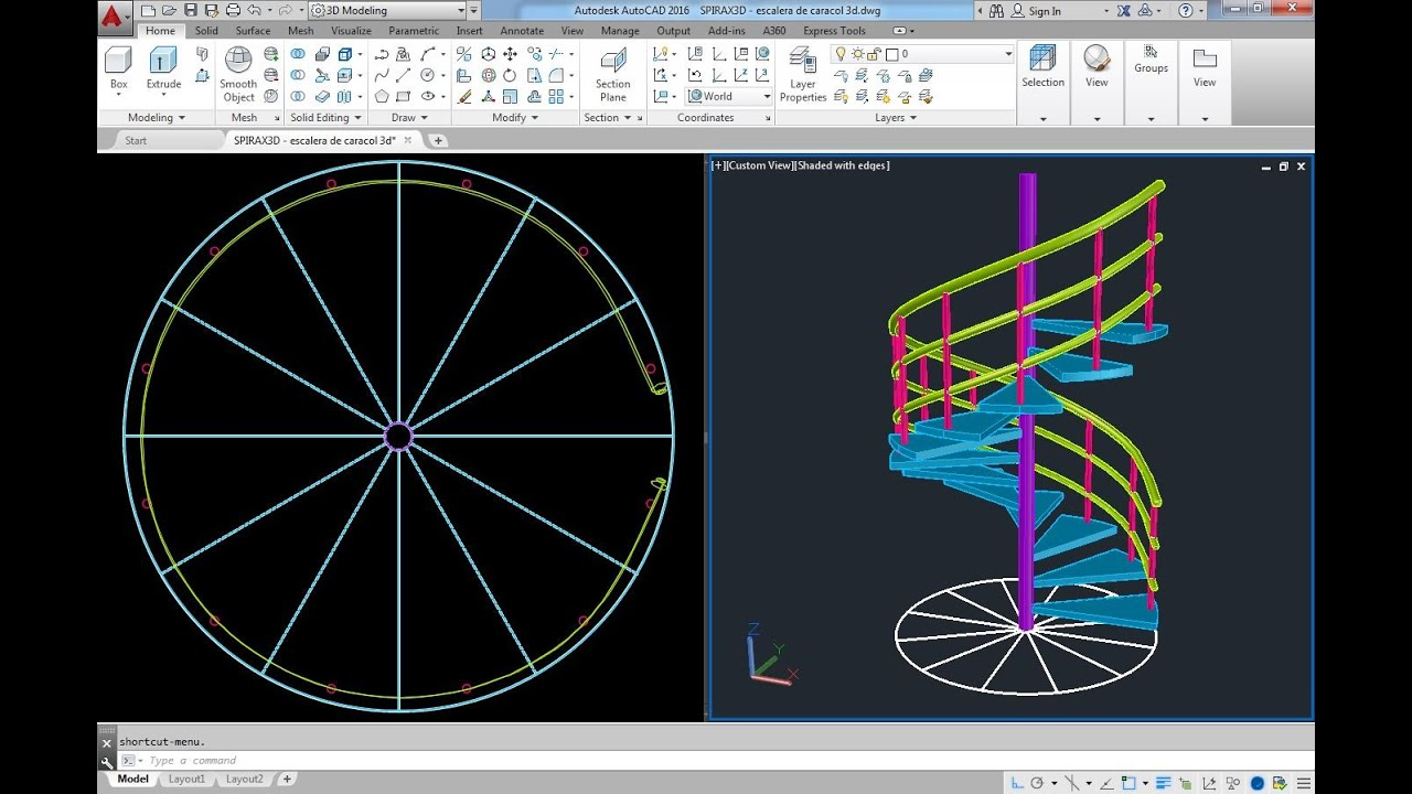 Escalera de caracol 3d 1 autocad youtube for Escaleras 3d max