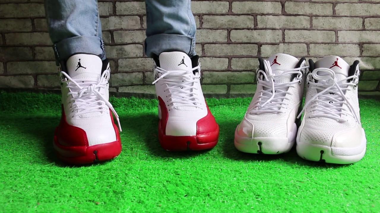 d3f7e89f3fcf Air Jordan 12 Cherry vs Sunrise On Foot HD Review - YouTube