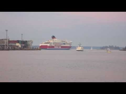 Viking Line Cruiseferry - MS Viking XPRS Leaving Helsinki South Harbour - Finland