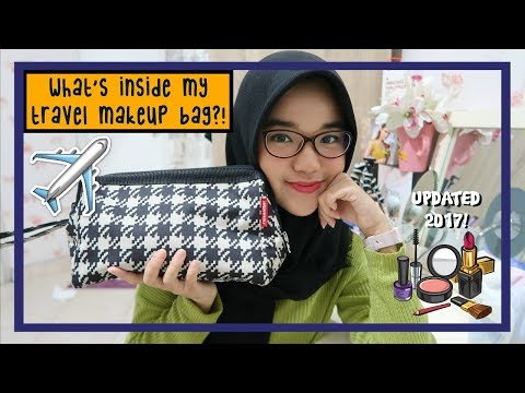 What's In My Travel Makeup Bag?!✈️ UPDATED 2017! || Nada Syifaa (Indonesia)