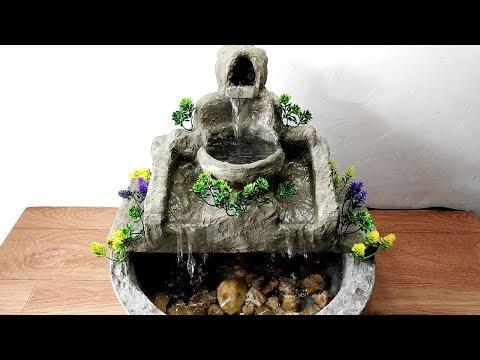 How to make beautiful cement waterfall fountain water fountain