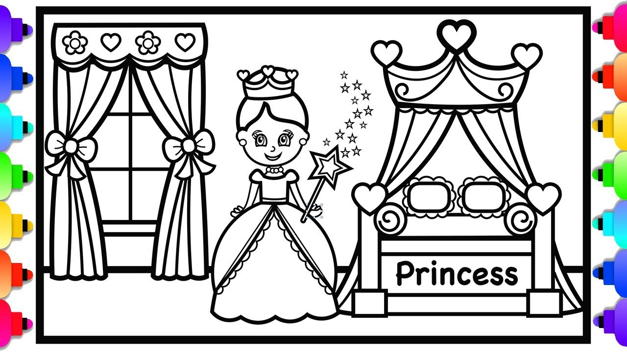 How To Draw A Princess Bedroom With Canopy Bed Step By Step For Kids Princess Coloring Pages Princess Coloring Bedroom Drawing