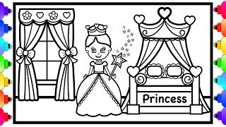 How to Draw a Princess Bedroom with Canopy Bed Step by Step for Kids ✨💜👸 Princess Coloring Page 💜