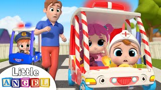 Ambulance to the Rescue | Wheels on the Bus Song | Little Angel Kids Songs & Nursery Rhymes