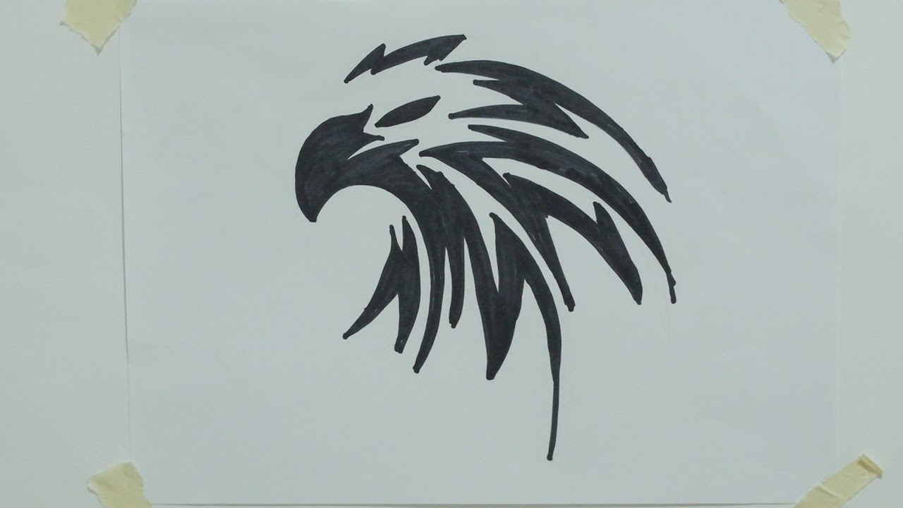 How to draw eagle head tribal tattoo