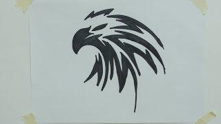 How to draw eagle head tribal tattoo