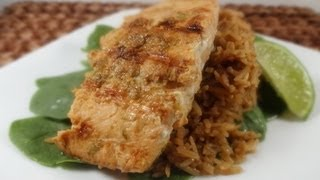 Healthy Lime Ginger Salmon Over Teriyaki Rice Recipe