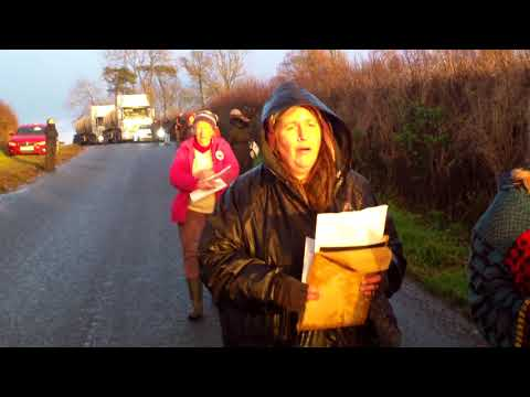Kirby Misperton slow walk of trucks into Fracking site in North Yorkshire