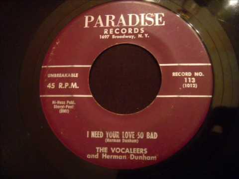 Vocaleers - I Need Your Love So Bad - KILLER NYC Doo Wop Ballad