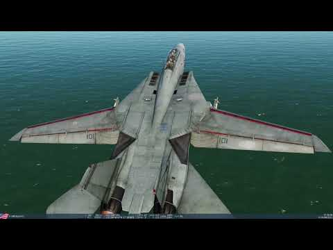 DCS World - F-14 Tomcat Getting off the carrier finally!  