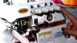 Como enhebrar una maquina fileteadora industrial 5 hilo puntada de seguridad