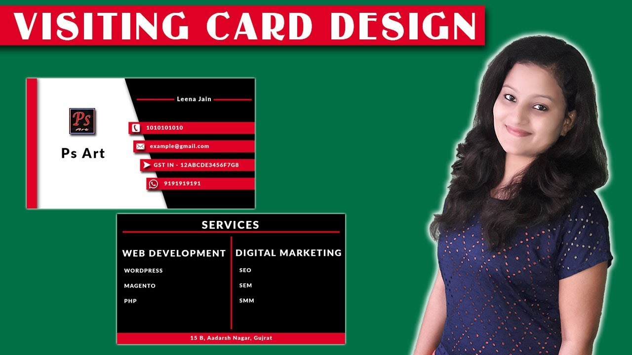 Business Card Design | How to Create Visiting Card in Photoshop By Leena Jain
