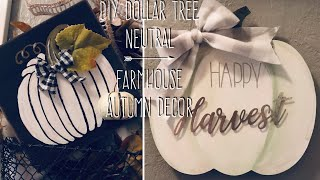 DIY Dollar Tree Neutral Farmhouse Autumn Decor