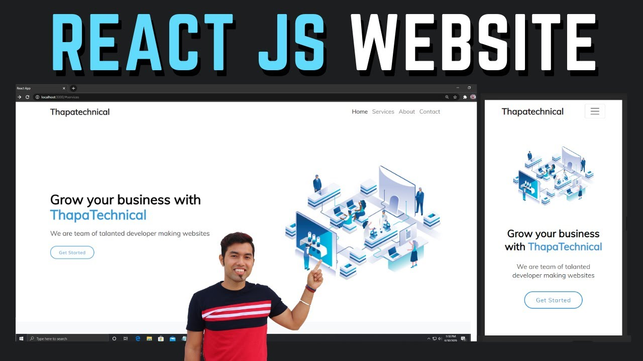 Complete Responsive Animated Website Using React Js In Hindi In 2020 Youtube