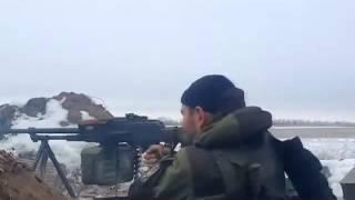 ATO fighters firing at DNR Ukrainian military firing 27 01 2015 Война на Донбассе