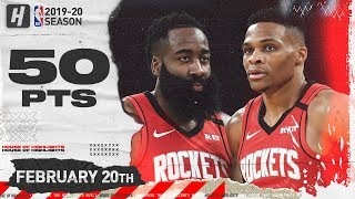 James Harden & Russell Westbrook 50 Pts Combined Highlights vs Warriors | February 20, 2020