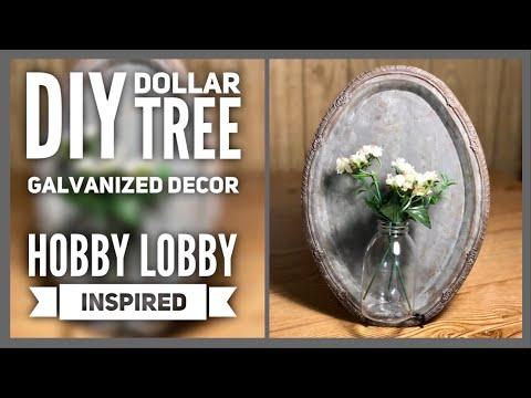 DIY Dollar Tree Farmhouse Galvanized Metal Wall Decor with Bottle - Hobby Lobby Inspired Room Decor