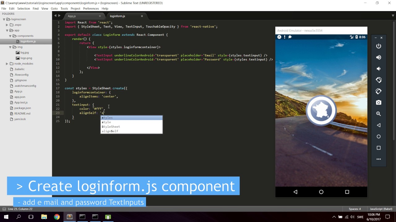 React Native Tutorial - Create & Design a Login Screen - YouTube