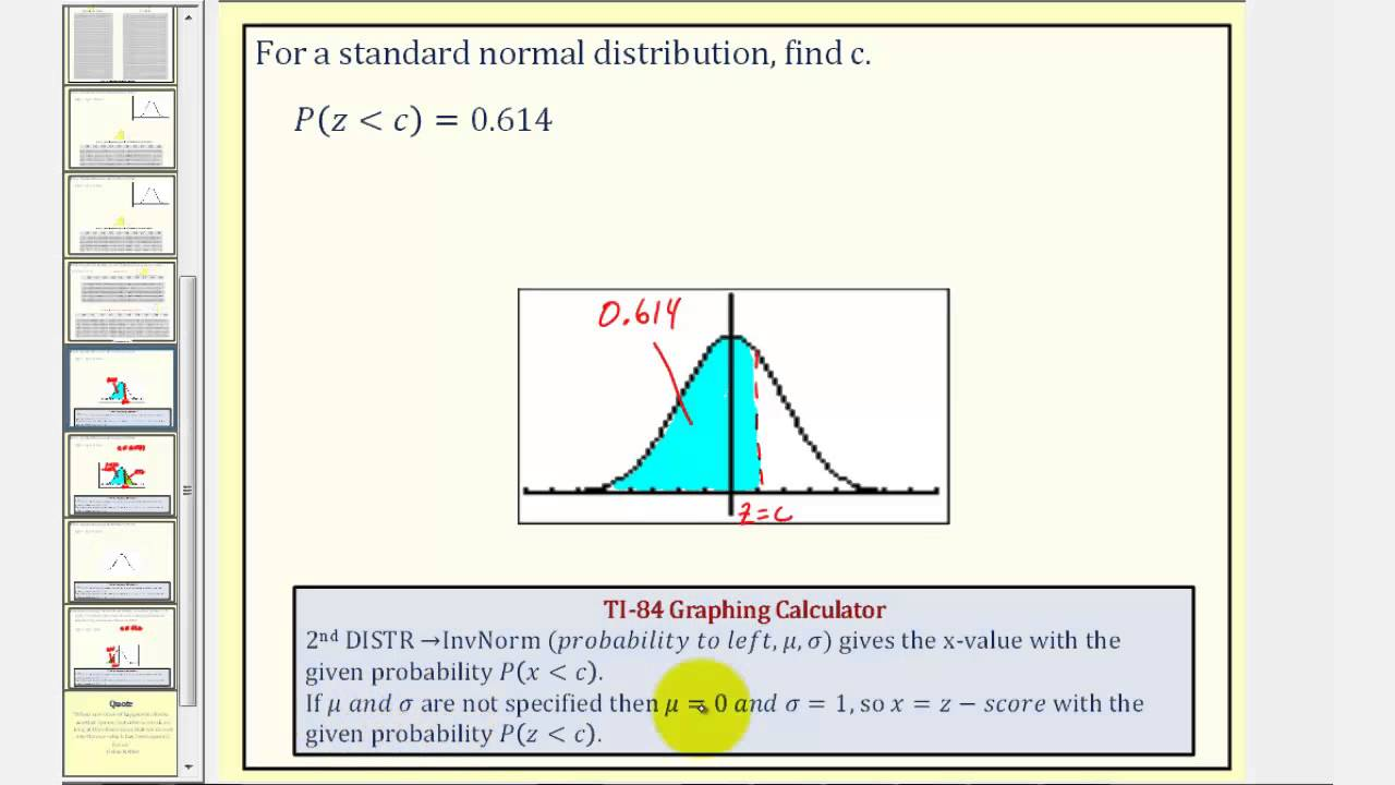 Ex 1 Std Norm Dist Find The Z Score Given A Probability
