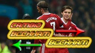 David Beckham es sustituido por su hijo Brooklyn en un partido.
