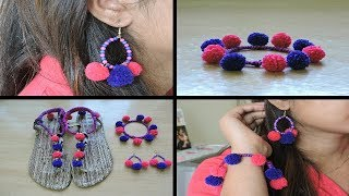 DIY Pom Pom Jewellery     Pom Pom Earrings    Pom POm Bracelet    Pom Pom Sandles    Pom Pom Making 
