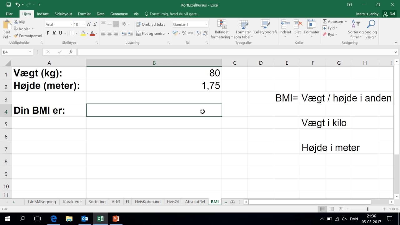 udregning af bmi formel