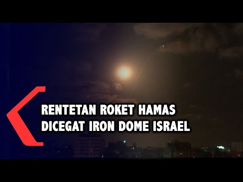 Penampakan Rentetan Roket Hamas Dicegat Iron Dome Israel