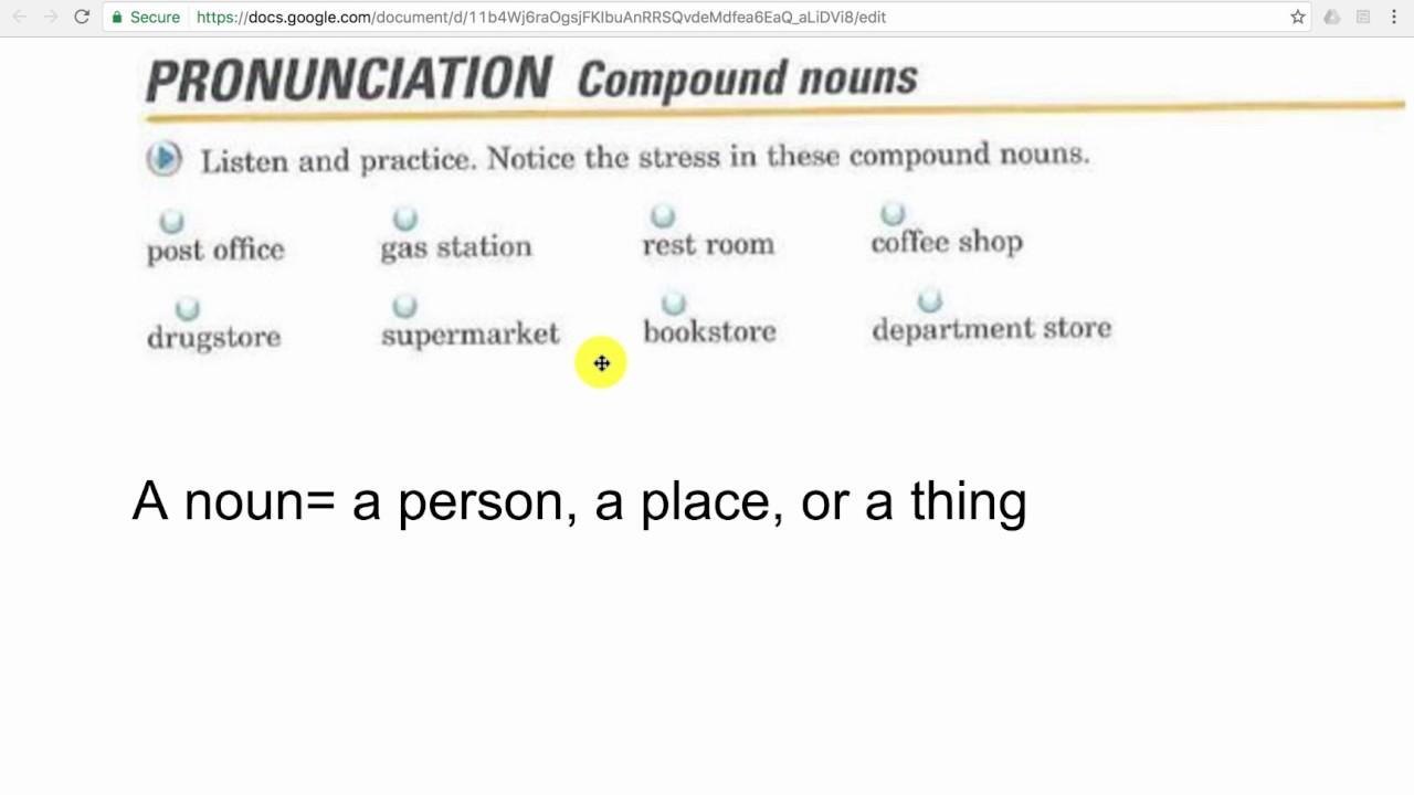 1.4 Pronunciation Of Compound Nouns - YouTube