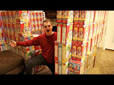 GIANT CEREAL BOX FORT! Overnight Challenge