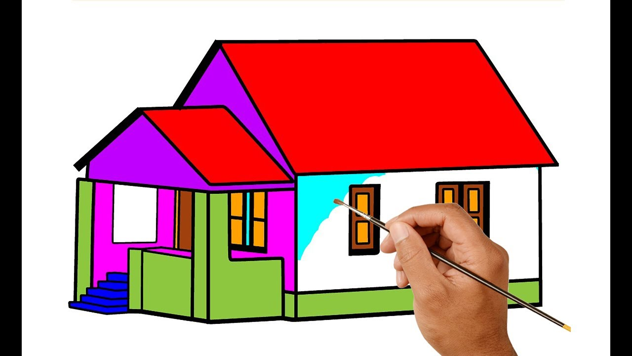 Drawing and Painting House For Kids | Learn to Color and Pint For ...