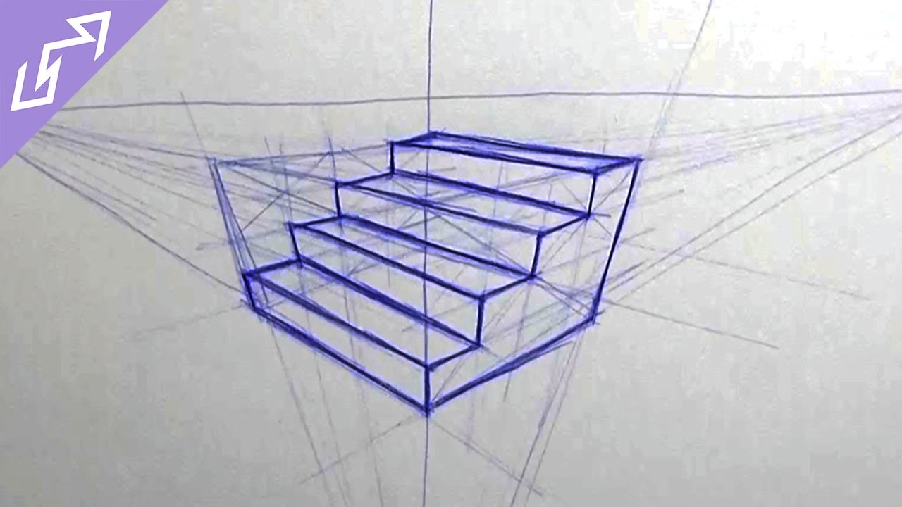 Sketch of the Day #4: Stairs in 3-Point Perspective (Drawing Time Lapse)