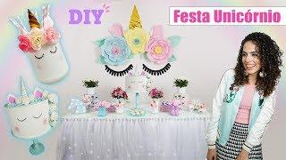 DIY MINHA FESTA DE ANIVERSÁRIO UNICÓRNIO: flores de papel gigantes, bolo falso, centro de mesa, e +