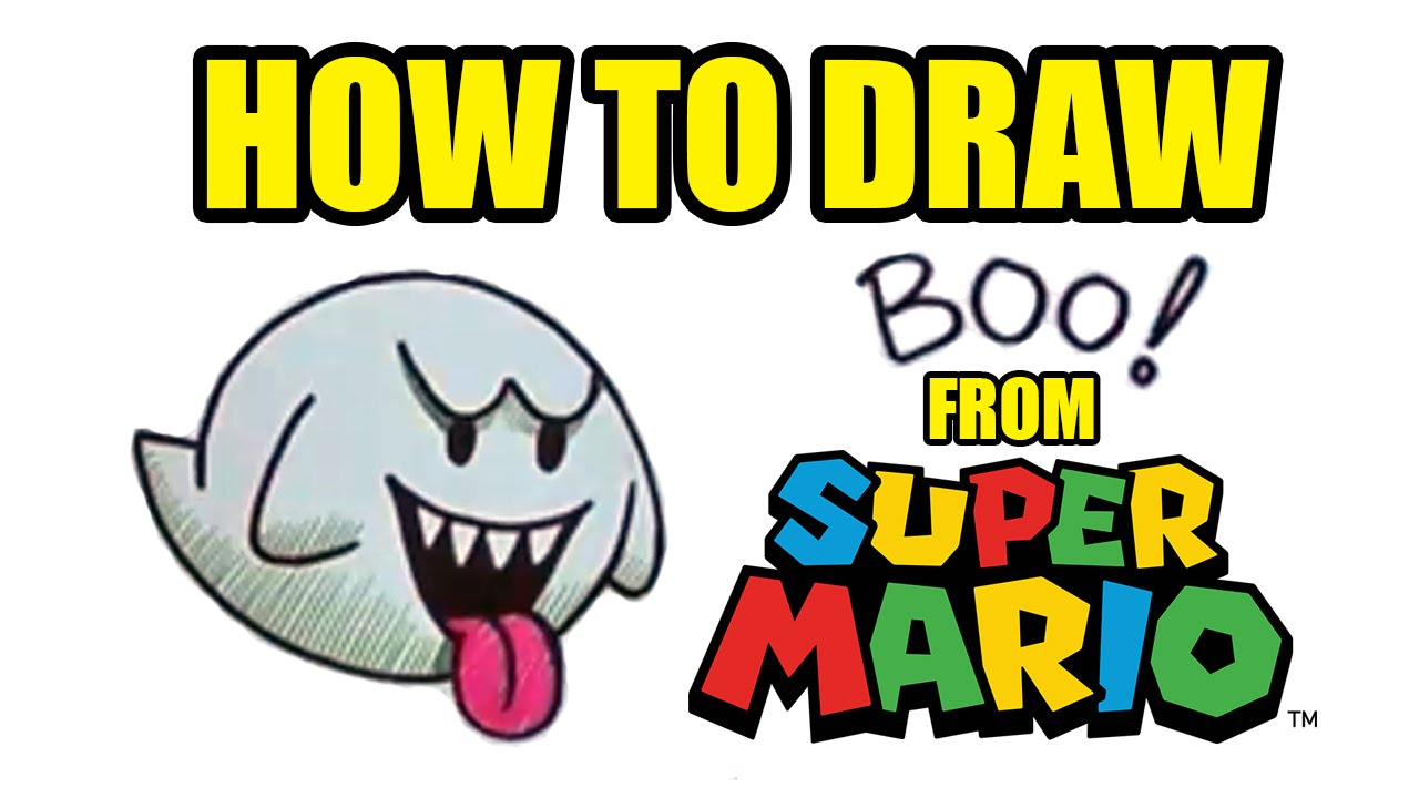 How To Draw Boo The Ghost From Super Mario Drawing Lessons For