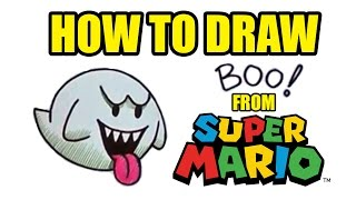 How To Draw Boo The Ghost From Super Mario - Drawing Lessons For Kids