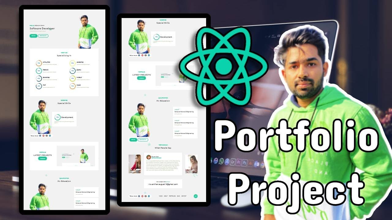 Create React App Portfolio Project For Beginners | Responsive Design