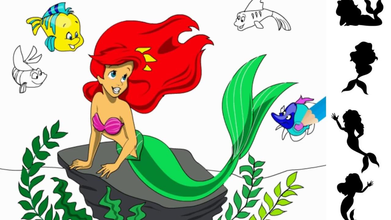 Coloring Cartoon Princess Ariel Mermaid The Mermaid