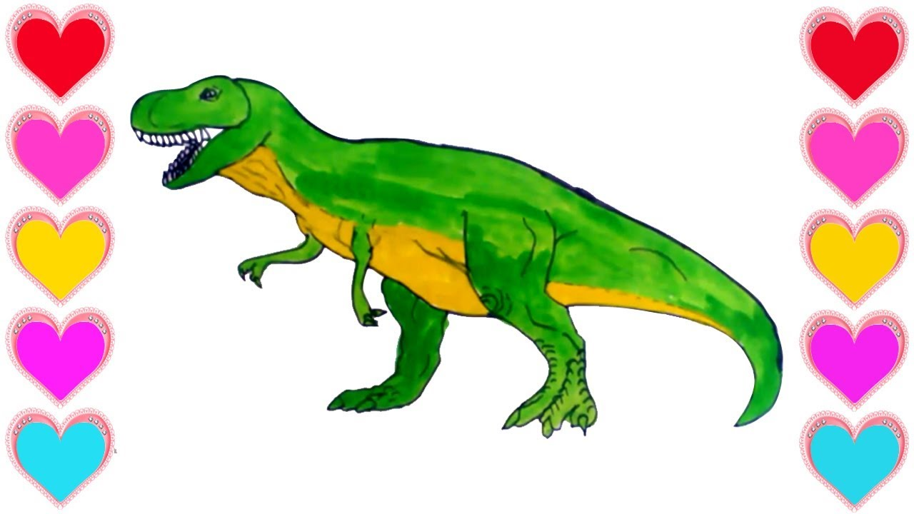 How To Draw A Dinosaur For Kids||Drawing & Painting Easily Step by ...